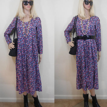 Estimated 90s, Possibly A Homemade Garment, Grunge, Flower Print, Long Sleeve, Unlined, Zippered, Calf Length, Feminine, Casual, Fall, Small