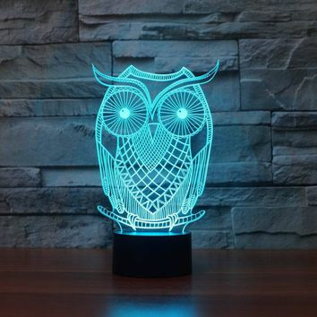 3D Visual Owl Shape LED Lamp with 7 Colors USB Table Lamp as House Decorative LED Nights Lamp