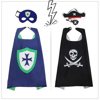 Cool SPECIAL 70*70 cm Pirate Cape Mask Themed Costumes Perfect Kids Cape Superhero Role Playing Pirate Super Movie Knight CosplayAT_93_12