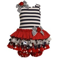 Bonnie Jean Baby Girls Stripe Mixed Fabric Skirt Dress, Navy, 12 Months