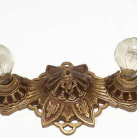 Cast Aluminum  Art Deco Flush Mount Ceiling Light Fixture c1920s, Restored, Rewired, Ready for Home Restoration
