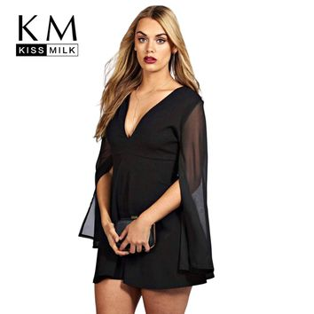 Kissmilk 2017 Big Size Women Clothing Casual Solid Chiffon Sexy Split Summer Dress Flare Sleeve Plus Size Dress 4XL 5XL 6XL