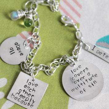 Hand Stamped Sterling Silver Bible Verse Charm Bracelet 1 Peter 4 8, Inspirational, Religious, Spiritual, Baptism, Motivational Gift