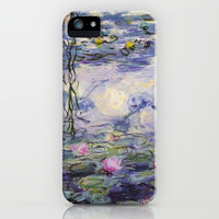 1916 Waterlily on canvas, Claude Monet. Beautiful vintage floral oil painting.  iPhone & iPod Case by ArtsCollection