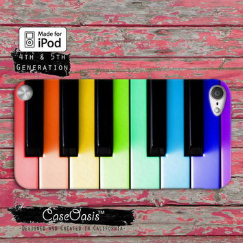Piano Keys Music Rainbow Pink Colored Cute Case iPod Touch 4th Generation or iPod Touch 5th Generation Rubber or Plastic Case