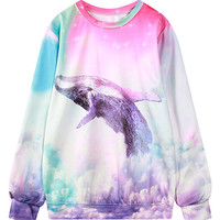 Multicolor Dophin Print Round Neck Sweatshirt