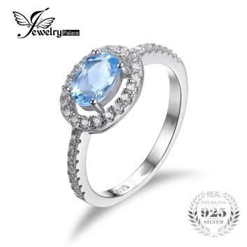 JewelryPalace Round 1ct Natural Blue Topaz 925 Sterling Silver Ring Fine Jewelry Natural Gemstone Engagement Ring for Women
