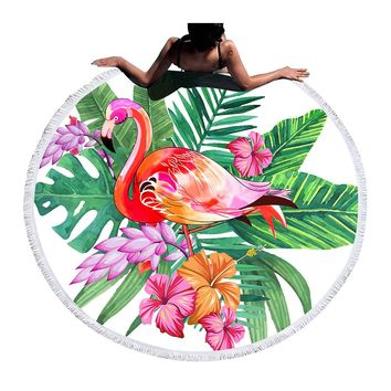 BeddingOutlet Flamingo Round Beach Towel Large Towel for Adults Woman Blanket Printed Toalla Tassel Tapestry