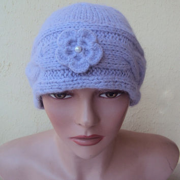 KNIT HAT Hand Knit Hat Beret Beanie Mohair Lilac/Lavender Winter Hat Women's Winter Accessories Gift Ideas