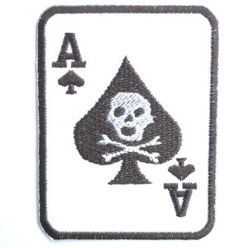 """ACE OF SPADES Death Card Iron On Embroidered Patch 2.9""""/7cm"""
