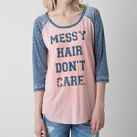 Women's Messy Hair T-Shirt in Orange/Blue by Daytrip.