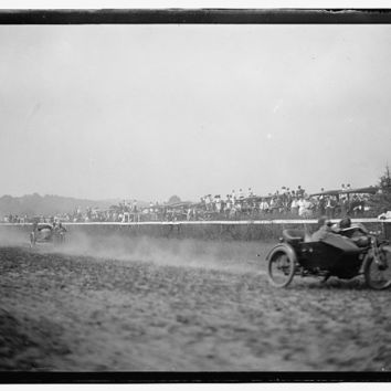 c.1910 Unknown Motorcycle Track Races, Black and White-Antique-Old-Vintage Reproduction Photograph/Photo/Poster: Gicclee Print. Frame it!