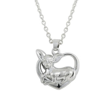 Chihuahua Dog Doggie Heart Pendant Necklace Cute Puppy Dog Lover Fashion Jewelry