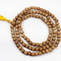 108 beads - Tibetan Natural Sandalwood Mala Prayer Beads - 8mm - Tibetan Mala Beads - Mala Making Supplies - PB98S-Y