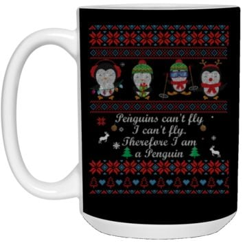 penguins can't fly i can't fly therefore i am a penguin 21504 15 oz. White Mug