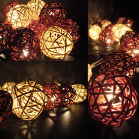 20 Mixed Earth Brown Tone Handmade Rattan Balls Fairy String Lights Party Party Patio Wedding Floor Table or Hanging Gift Home Decoration