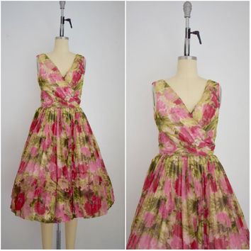 Vintage 1950s Chiffon Rose Print Dress