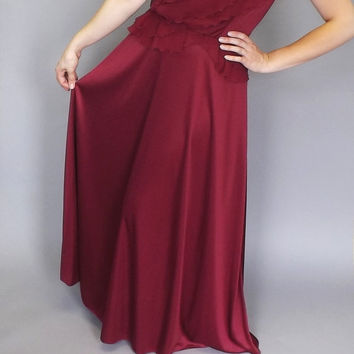 Vintage 1970s does 1940's Cranberry Formal Bridesmaid Maxi Dress Party Prom Peplum Gown Size Medium Princess Goddess Romantic Fairy Queen