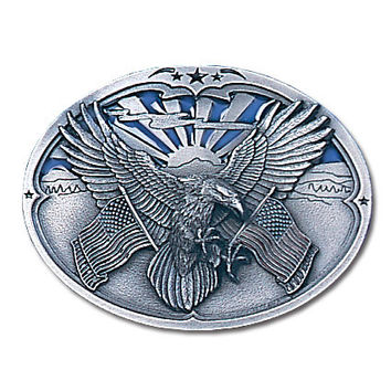 Eagle Carrying Flags Enameled Belt Buckle