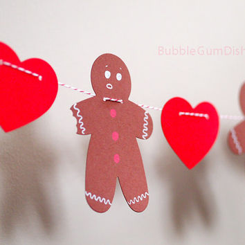 Gingerbread Man Cookie Heart Garland Christmas Decor Holiday Hearts Garland 6 foot
