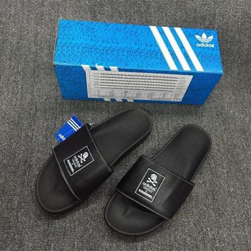 Adidas Unisex Summer Fashion Casual Skull Head Slippers Couple Beach Home Sandals Shoes