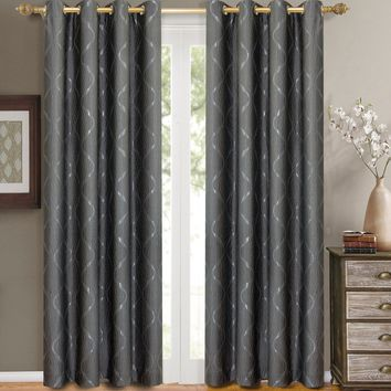 Steal Laguna Pair (Two Panels ) Jacquard Grommet Curtain Panels