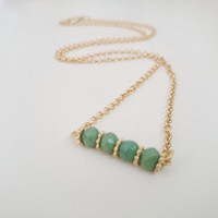Crystal Bar Necklace, Emerald Green Necklace, Gold Chain Necklace, Simple Necklace, Layering Necklace, Crystal Jewelry, Wedding Gift, ForHer