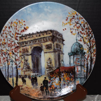 Louis Dali L' Arc de Triomphe Limoges Numbered Plate Vintage French Porcelain Plate 1 of Series of 12 Collectible Plates Parisian Cityscapes