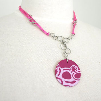 Necklace Pink Circles, Bubbles Fimo Necklace, Wire Loops, OOAK