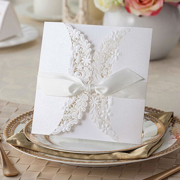 White lace bow elegant laser cut wedding invitations 10pcs/lot