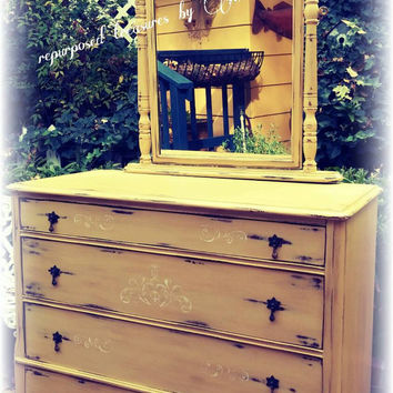 Distressed Antique Upcycled shabby chic, country cottage, french country, pale yellow dresser with attached mirror! Chalk paint, waxed