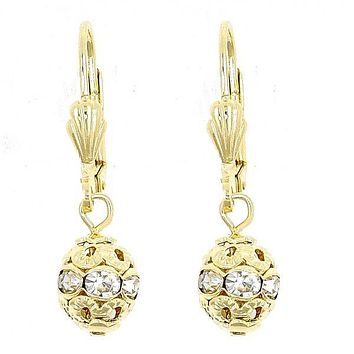 Gold Layered 5.120.012 Dangle Earring, Ball Design, with White Crystal, Polished Finish, Gold Tone