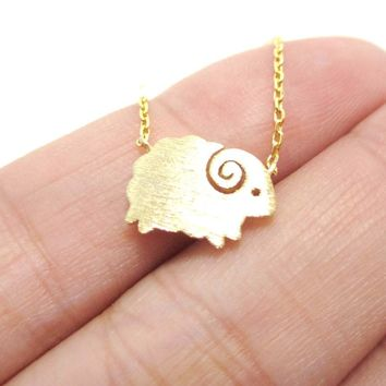 Little Mountain Goat Ram Sheep Shaped Animal Charm Necklace in Gold | DOTOLY
