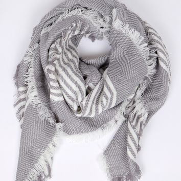 Striped Blanket Scarf Grey