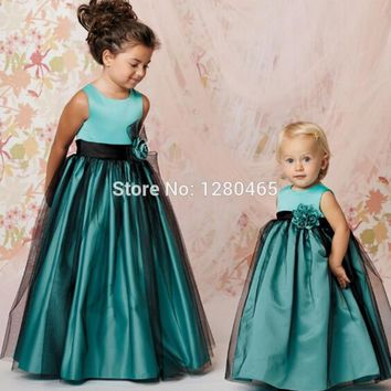 Turquoise Cute Green Cheap Flower Girl Dresses Girls Pageant Gowns Formal Dresses A-Line Satin Tulle Junior Bridesmaid Dresses