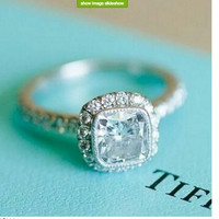 1.50ct Cushion Cut Diamond Engagement Ring GIA certified 18kt White Gold JEWELFORME BLUE