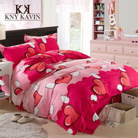 New 2015 European Style Bedding Sets Brand High Quality 100% Cotton Home Bedding Set Pink Sweet Heart Bedding 100% Cotton HBS057