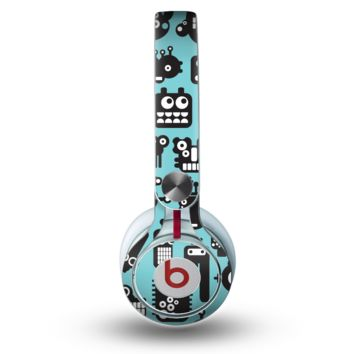 The Teal & Black Toon Robots Skin for the Beats by Dre Mixr Headphones