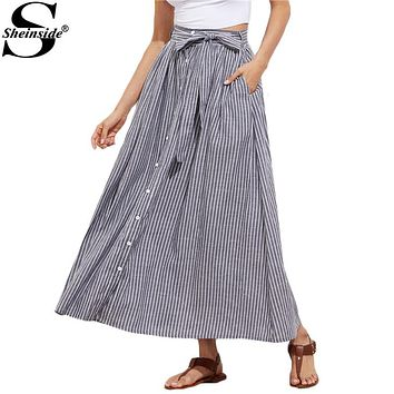Sheinside Grey Pinstripe Maxi Skirt Button Up Casual Women Self Tie Hidden Pocket Skirts 2017 Summer Bow Tie A Line Cotton Skirt