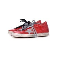 Golden Goose Superstar Sneakers - Red Decollete/Silver Star Leather Sneakers