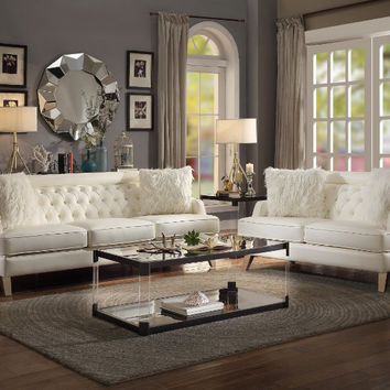 Home Elegance HE-8246CR-2pc 2 pc Nevaun cream airehyde leather sofa and love seat set with tufted backs