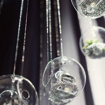 Clear Hanging Glass Candle Holder Globes -- Set of Four -- 5 Inches