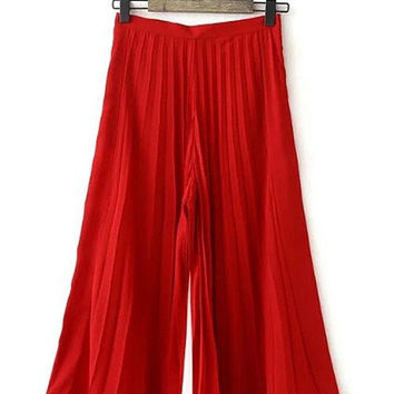 Red Pleated Culottes