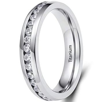 CERTIFIED 4MM Eternity Titanium Ring Wedding Band with Cubic Zirconia