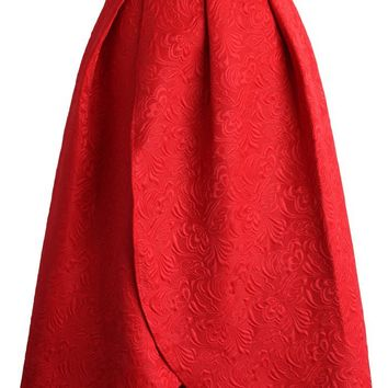 Tulip Fairy Embossed Midi Skirt in Ruby