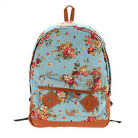 Pastoral Style Canvas Flower School Bags Students Bookbags Backpack
