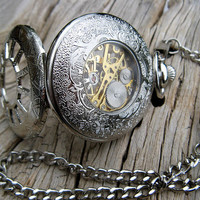 Silver Pocket Watch, Victorian Mechanical Pocket Watch, Pocket Watch Chain, Groomsmen, Men, Best Man - Item MPW163