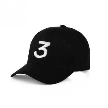 Popular Singer Chance The Rapper 3 Chance Cap Black Letter Embroidery 3D Baseball Cap Hip Hop Streetwear Snapback Hats