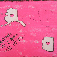 CUSTOM Sending Love Across the Miles... From State to State / 8 x 10 FLAT Canvas Panel. Convo ME for an 8x10 stretched canvas instead
