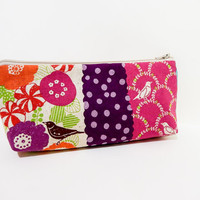 Medium Zipper Pouch Cosmetic Bag Pencil Case Birds and Flowers